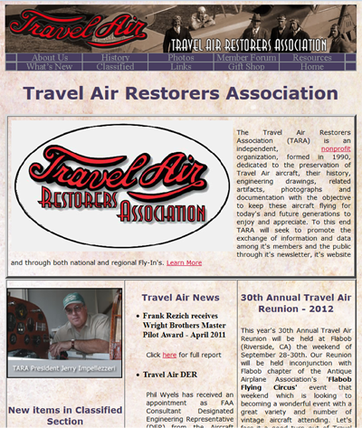 Screenshot Travel Air Restorers Association
